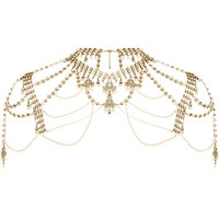 Gold tone faux pearl cape necklace - body jewelry / capes - jewelry - women