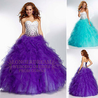 Purple Organza Beadwork Graduation Party Evening Prom Ball Gown/Sz 6 8 10 12 14