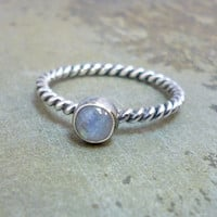 Rainbow Moonstone and Sterling Silver Stacking Ring