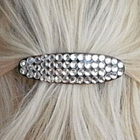 BLING HAIR BARRETTE - Oval Shaped Barrette w/ Clear Rhinestones