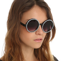 Pearl Black Round Sunglasses