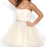 Strapless Short Prom Dress with Ballerina Skirt and Stone Waist