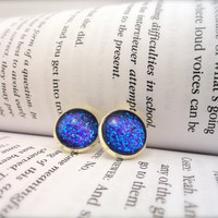 Glass Dome Earrings, Glitter Earrings, Purple Earrings, Galaxy Earrings, Cabochon Earrings, Round Earrings, Teal Earrings, Blue Earrings