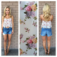 White Floral Print Crop Top