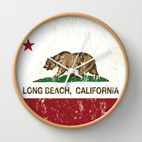 Long Beach California Republic Flag Distressed Wall Clock by NorCal