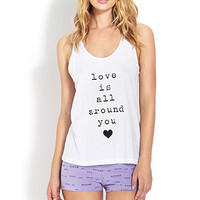 FOREVER 21 Love is All Around You PJ Set White/Purple
