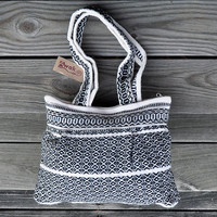 Handwoven Shoulder Bag - Woman Girls Ethnic Andean Black and White Bag - Alpaca Wool Bag - AWAK