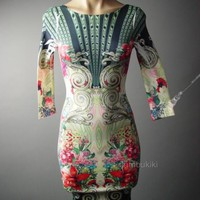 Ornate Floral Art Nouveau Mirror Print Bodycon Wiggle Pencil Sheath 64 mv Dress