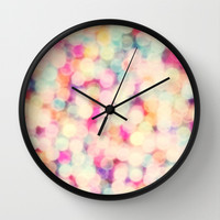 Retro Candy Bokeh Wall Clock by Sharon Johnstone