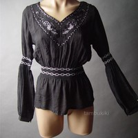 Black Renaissance Medieval Embroidered Gauzy Peasant LARP Top 41 mv Blouse S M L