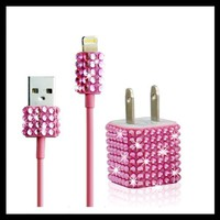 2pc Set Wall Charger + Cable for Iphone 5, 5s, 5c - Rhinestone Diamond Bling (Hot Pink)