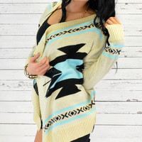 Curling Willow Light Blue Aztec Open Collar Cardigan