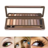 12 Colors Naked Eye-shadow Palette with Brush for Woman Cosmetic