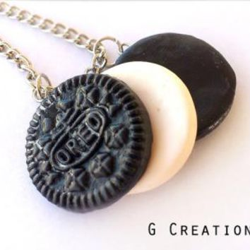 Oreo Inspired Best Friends Necklace - Set of 3 - Realistic Food Miniature Jewelry - Handmdade Sweet Cookie Polymer Clay Necklace - Cute Gift