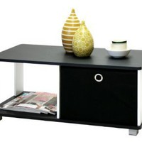 Amazon.com: Furinno 99954 Coffee Table with Bin Drawer, Black and White Finish: Home &amp; Kitchen