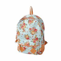 Canvas Floral Backpack Vintage Flower Design Fashion Travelling Bag Schoolbag Canvas Backpack for Teens/for Girls, Flower Print Backpack (Blue)