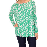 Box Tee, Green Print :: NEW ARRIVALS :: The Blue Door Boutique