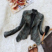 Knit Sleeves+Denim Studded+Zipper Biker Tailcoat Jacket | eBay