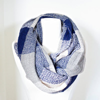 Snood Blue Plaid Scarf Valentine's Day Gift for Her Infinity Navy Blue Checkered Scarves, Chunky Loop Scarf, Women Accessories Scarves