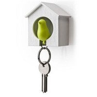 Sparrow Birdhouse Key Ring