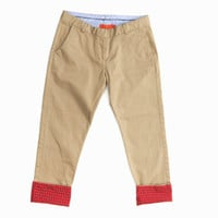 British Khaki Cuff Detail Pants