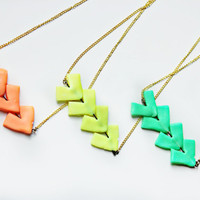 Arrow Neon Geometric Clay Necklace by NHartisan on Etsy