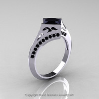 Modern French 14K White Gold 1.23 Ct Princess Black Diamond Engagement Ring Wedding Ring R176-14WGBD