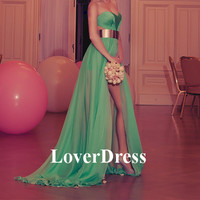 Long Prom Dress With Slit, Green Prom Dress, Sexy Side Slit Prom Dresses, Sexy Long Chiffon Prom Dress