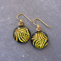 Gold Dangle Earrings, Fused Glass Jewelry, Golden Orange Jewelry - Fingerprint - 2247 -4