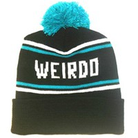 WEIRDO-Cuffed Knit Beanie Cap Black - One Size