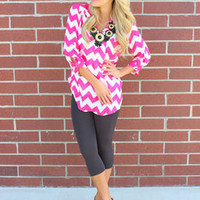 Chiffon and Chevron Hot Pink Marine Top