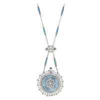 Tiffany & Co. Platinum, Diamond and Blue Enamel Belle Epoque Pendant Watch with Chain