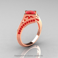 Modern French 14K Rose Gold 1.23 Ct Princess Rubies Engagement Ring Wedding Ring R176-14RGR