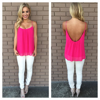 Fuschia Low Back Chiffon Tank