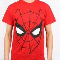 Spiderman - Mens Big Face T-Shirt in Red, Size: Small, Color: Red