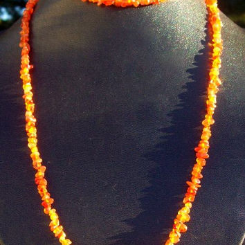 PUMPKIN GLOW Carnelian necklace - long stone necklace - orange