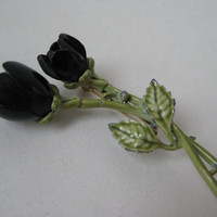 Rose Flower Black Brooch Enamel Green Vintage Pin