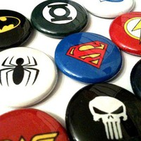 SUPERHEROES a pinback button set by SkippyDogDesigns on Etsy