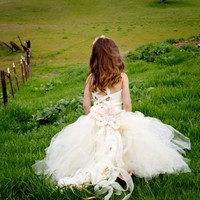 Champagne Ivory Lace Flower Girl Tutu Dress with Detachable Train