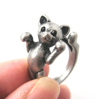 3D Kitty Cat Two Tailed Animal Wrap Around Ring in Silver Sizes 5 to 9