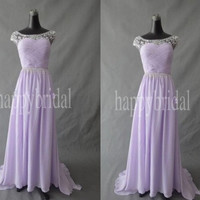 Long Lavender Lace Bridesmaid Dresses Homecoming Dresses Prom Dresses Party Dresses 2014 New Custom Made
