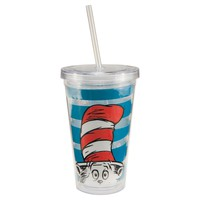 Vandor LLC 17351 Doctor Seuss A Cat in the Hat Acrylic Travel Cup with Lid and Straw, 18-Ounce, Multicolored