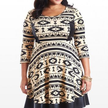 Plus Size Queen of the Village Aztec Faux Leather Dress | Fashion To Figure