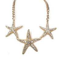 Women Fashion Summer Spring Gold Ocean Inspired Nautical Theme Triple Star Fish Crystals Statement Necklace Set