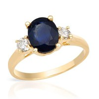 New FORELI 14K Y/G Ring 2.35 CTW Sapphire , Diamond - 			        	For Your Little One: Designer Pieces Shop
