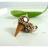 Nut Sundae Drumstick Ice Cream Earrings
