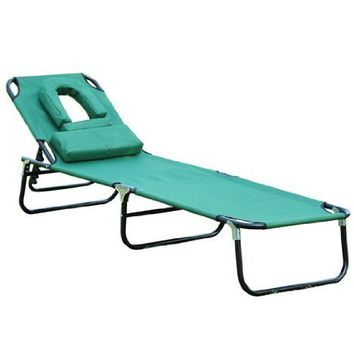 Outsunny Folding Face Down Opening Beach Sun Lounger - Green