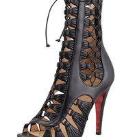 Christian Louboutin Azimut Caged Leather Bootie, Black