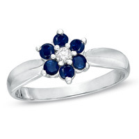 Blue Sapphire and Diamond Accent Flower Ring in 14K White Gold