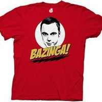 The Big Bang Theory Bazinga w/ Sheldon Red Men T-shirt